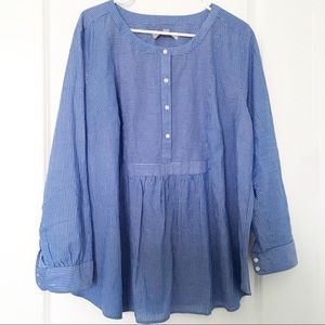LOFT Plus Blue and White Striped Tunic Size 18